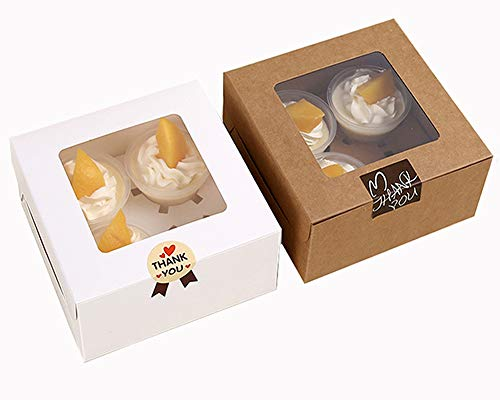(Chilly Cupcake Boxes, Pastry and Cookie Box, Cupcake Containers Carriers Bakery Cake Box with Stickers and Window, 5 Kraft and 5 White, Set of 10 (4)