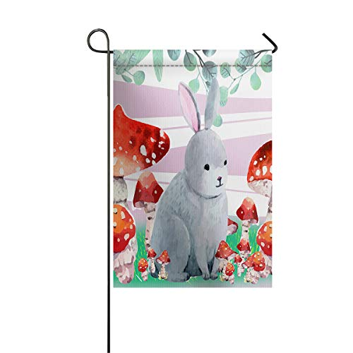 Happy Easter Day Garden Flags+Decorative Courtyard Seasonal Flag House Banners for Home Indoor Outdoor Welcome Holiday Yard Flags Cartoon Bunny and Mushroom 28x40inch -