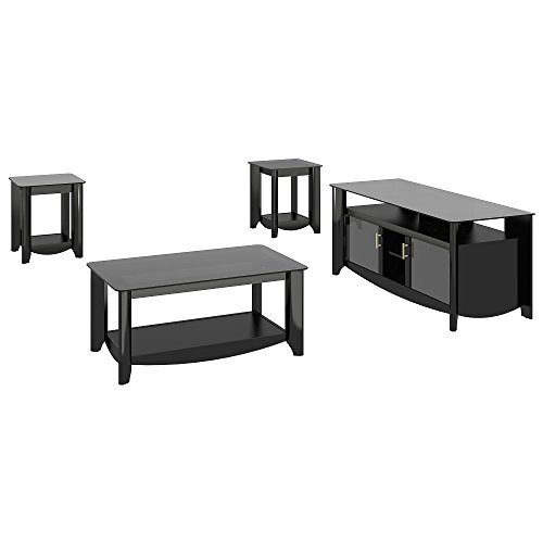 Bush Furniture Glass Tv Stand (Aero 56 Inch TV Stand and Coffee Table with End Tables)