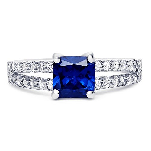 Sterling Silver Square Simulated Blue Sapphire with Clear Cubic Zirconia Ring, 6mm - Mm 6 Cut Cubes
