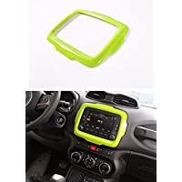 FMtoppeak Green ABS Ring Outlet Dash Board Car DVD Player GPS Frame Trim Cover For 2014 UP Jeep Renegade