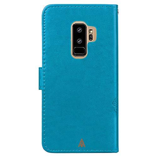 Galaxy s9 De Plus Flip Los lucky Grass cubierta Teléfono Azul Protectores billetera Celulares Para Samsung Teléfonos Relieve Carcasa cierre Automático Crédito Magnético S9 En tarjeta Móvil 0zqCwq