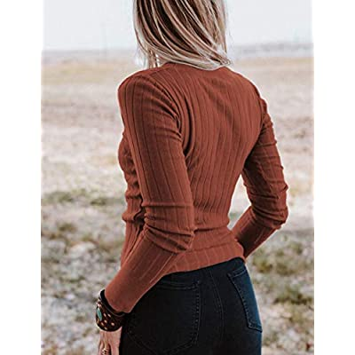 MEROKEETY Women's Long Sleeve V Neck Ribbed Button Knit Sweater Solid Color Tops at Women's Clothing store