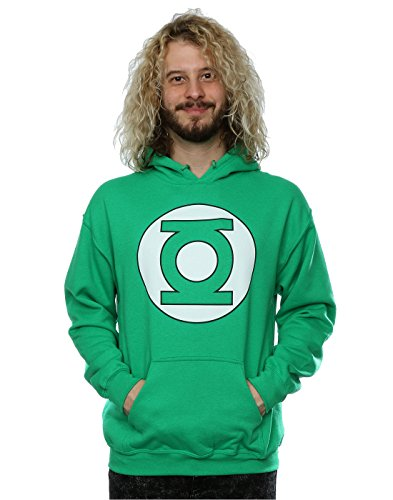 (DC Comics Men's Green Lantern Logo Hoodie X-Large Kelly)