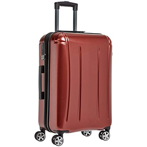 (AmazonBasics Oxford Expandable Spinner Luggage Suitcase with TSA Lock - 24 Inch, Red)