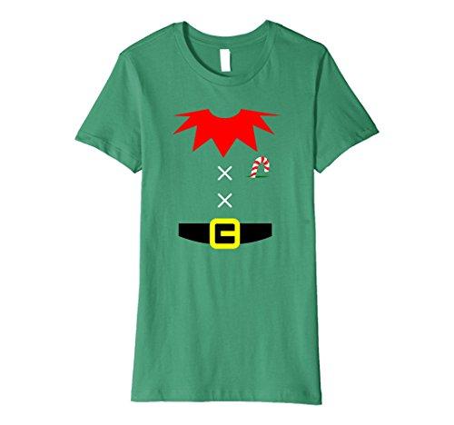 Xmas Elf Costumes (Womens ELF COSTUME Christmas Shirt | Xmas Santa Helper T-Shirt Large Kelly Green)