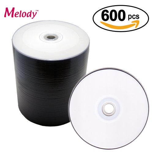 Melody 600 Pieces White Inkjet Printable Wholesale Bulk Pack Professional Grade Blank DVD-R Disc, 16X, 4.7GB, 120min. For Video, Movie and Data use. by Melody