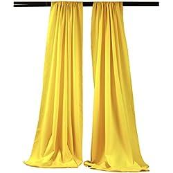 LA Linen Polyester Poplin Backdrop Drape (2 Pack), 96 x 58, Light Yellow