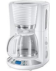 Russell Hobbs Inspire Filterkoffizetapparaat, Wit, Glazen Kan, 1,25 Liter, 10 Grote Of 15 Kleine Koppen, Timer, Uitneembare Koffiefilterhouder, 1100 Watt 24390-56