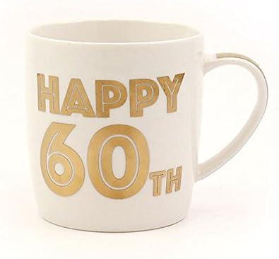 GlamourHappy 60/Ans danniversaire 60/Ans Blanc et dor/é en Porcelaine Fine Mug dans Une bo/îte de pr/ésentation