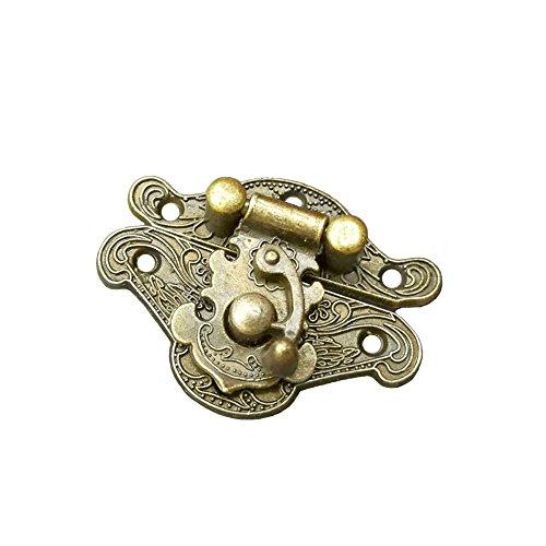 RZDEAL 2PCS Small Antique Embossed Buckle Lock Latch Zinc Alloy Plate Metal Hardware Furniture Accessory Decorative Decor Wood Case Jewelry Box(DIY) (Hardware Jewelry)