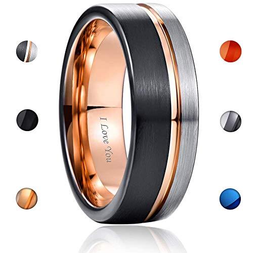 - WASOLIE Tungsten Carbide Wedding Ring Engagement Band for Men Women Rose Gold Blue Black Matte Brushed Comfort Fit 8mm