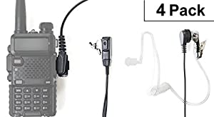 Radio earpiece 2-Pin, (4 Pack) Covert Acoustic Tube, Walkie Talkie earpiece with a Mic PTT, Walkie Talkie Headset for Kenwood Baofeng Puxing Wouxun.