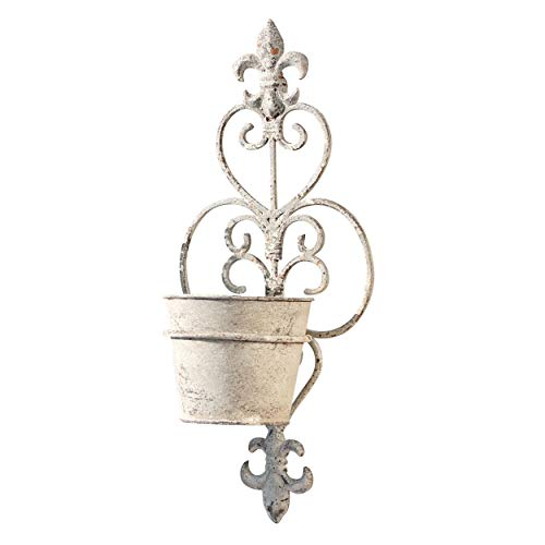 - WHW Whole House Worlds French Country Fleur-de-Lise Crested Wall Hanger Plus Pot, Curled Iron, Distressed Finish, Rough Antiqued Patina, Weathered White, Terracotta Undertones, 14 1/4 H Inches