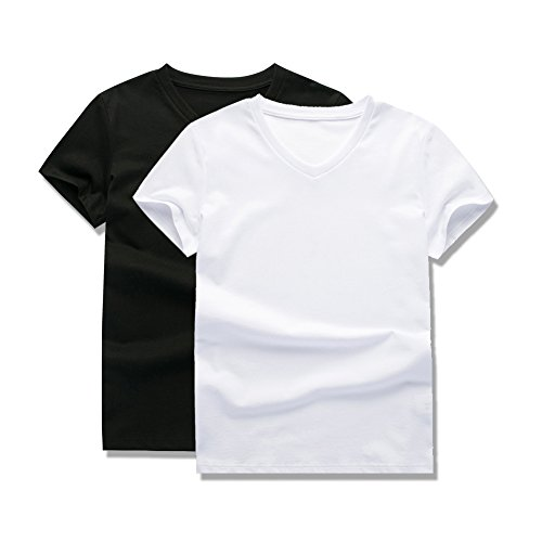 UNACOO 2 Packs 100% Cotton Short-Sleeve V-Neck T-Shirt for Boys and Girls(Black+White,xs(3-4T))