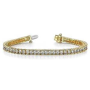 18K Yellow Gold Diamond Round Brilliant Channel Tennis Bracelet (5.6ctw.) - Size 10