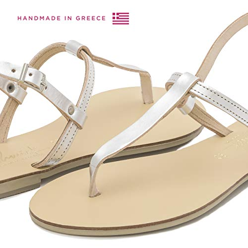Summer Women 36 3 UK Thong Schmick EU Ankle Handmade Strap Leather Shoes Heel Maia Flat Silver Sandals Natural qF4HwB0U