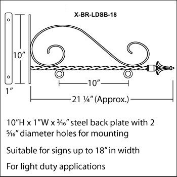 num Hanging Sign Scroll Brackets, Overall Width 21-1/2