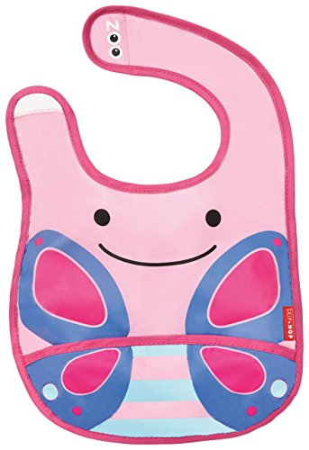 Skip Hop Zoo Infant and Toddler Tuck-Away Bib, Blossom Butterfly, Multi