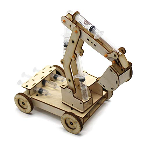 Tnfeeon Assembly Wooden Excavator, DIY Electronic Hydraulic Powered Digger Model Playset Components Early Learning Development Puzzle Toys Gift for Kids Toddler(NO.2)