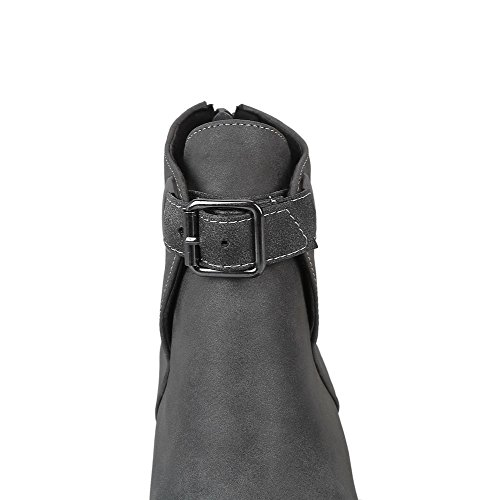 Women's Solid Heels Zipper Low AgooLar Round Gray Toe PU Boots gOqdOTX
