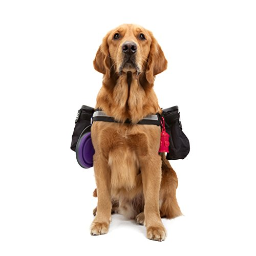Lifeunion Service Dog Harness with Removable Saddle Bag Backpack Pack Hiking Carrying Bag, 2 Removable Moda Dog Velcro Patches for Small Large Dogs (L)