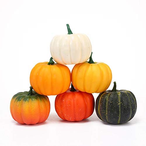 Leegoal Artificial Pumpkins, Realistic Fall Harvest Mini Foam Simulation Pumpkins Model Props Decorations Set for Halloween Thanksgiving Christmas New Year Home Party Decor Fall Crafts for -