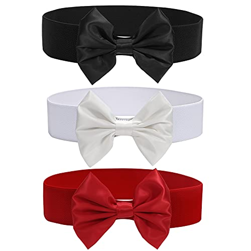 """3 Pack Women Bow Wide Elastic Cinch Belt for Dress, Vintage Stretchy Waistband Halloween Waist Belts Width 2.36"""""""