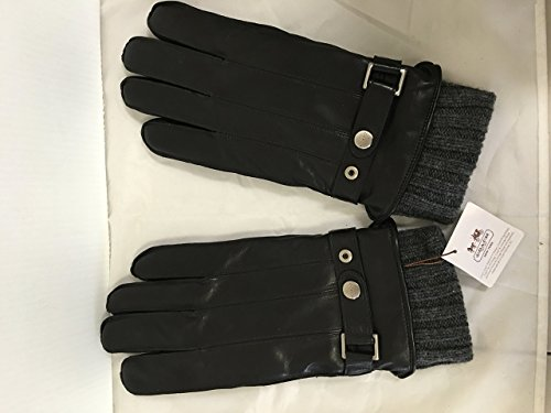 Coach Mens 2 in 1 Sheepskin Leather and Wool Cashmere Gloves All Season (X-LARGE, BLACK) Sheepskin Wool Gloves