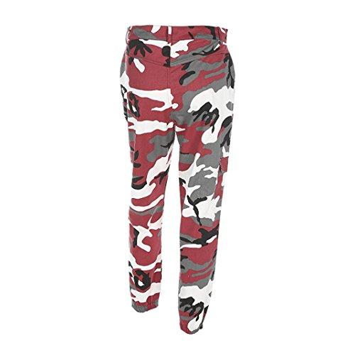 Rawdah Pantalones de mujer Camo Cargo Pantalones de camuflaje Casual al aire libre Pantalones vaqueros, Elegantes y de moda te hacen más atractivo Rojo