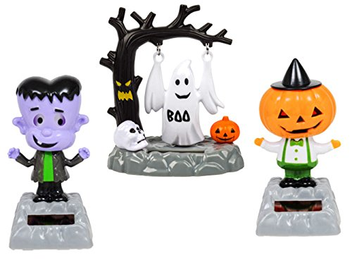 Solar-Powered Moving Dancing Halloween Monsters (3 Piece SET) Frankenstein, Ghost, Pumpkin Head