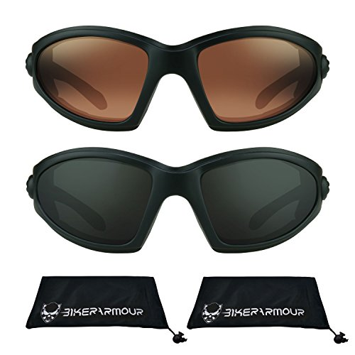 Motorcycle Sun Glasses Foam Padded 2 pairs combo - Face For Glasses Your Finding