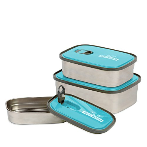 Bento Lunch Box Stainless Steel Food Containers Blue Set of 3 Leak Proof With Lids BPA Free Durable Dishwasher Safe For Kids Adults And Sports