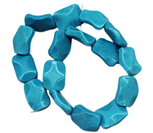 (18x25mm Wavy Rectangle Blue Turquoise Bead Strand (16 Piece))