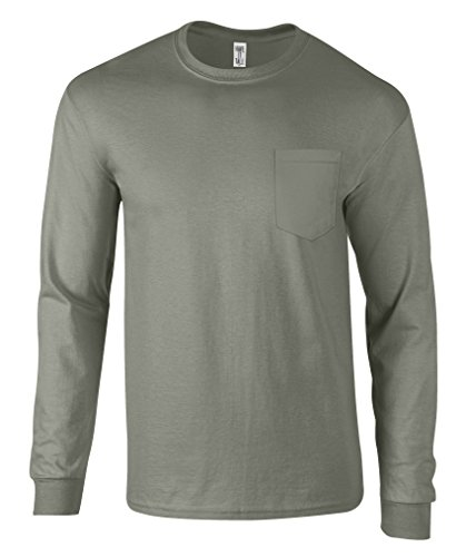 (Have It Tall Men's Long Sleeve Pocket T Shirt Ringspun Cotton Made in USA Gray X-Large Tall)
