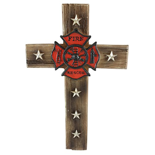 (Pine Ridge Firefighter Fire and Rescue Wall Cross Home Decor- Religious Christian Wood Look Maltese Decoration with Star Accents and Fireman Shield Centerpiece -Volunteer Department Gift Collectibles)