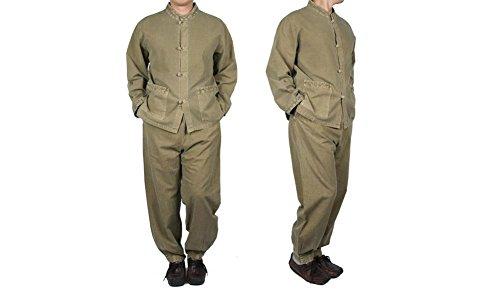 Danahane Men's V-Neck Shirts And Pants Set Yoga Meditation Cotton Clothes XL Khaki (Hanbok Men)