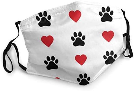Mundschutz Maske Hund Pfote Katze Pfote Herz Liebe Welpe Fußabdruck Mode Schutz Unisex Staub Gesichtsbedeckung Baumarkt