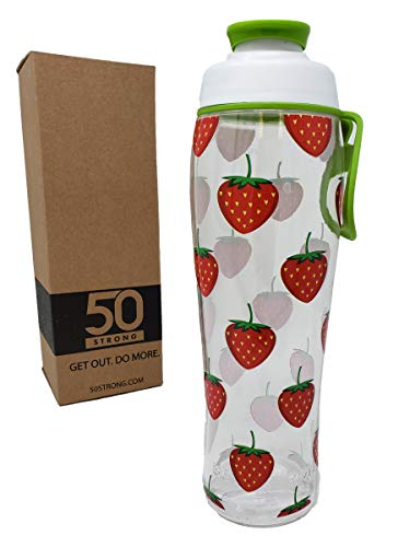 (50 Strong BPA Free Gym Water Bottle with Ice Guard Flip Top Cap & Carry Loop - Cute Designer Prints - Perfect for Men, Women, Sports & Workout - 24 oz. - Made in USA (Strawberries, 30 oz.))