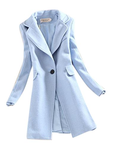 Women's Vintage Lapel One Button Long Polo Jacket Blazer Wool Trench Coat Blue (Blue Tweed Wool)