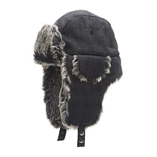 Dockers Men's Winter Warm Trapper Hat, Charcoal Design, Large/Extra Large