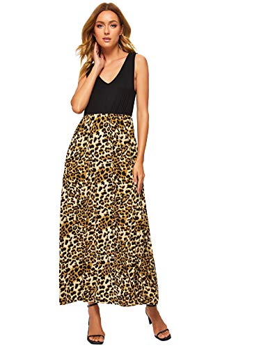 Verdusa Women's Casual Sleeveless Deep V Neck Sexy Maxi Long Dress Leopard XL