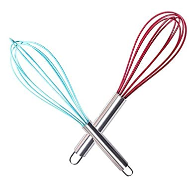 Wired Whisk Silicone Whisk Set of 2 ★ Stainless Steel & Silicone Kitchen Utensils for Blending, Whisking, Beating, Cooking, Mixing & Stirring ★ Includes Free Recipe Ebook with 201 Fast and Easy Recipies