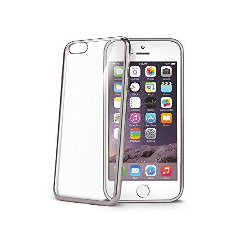 Celly BCLIP6SSV Silikon Bumper Laser Schutzhülle mit Ränder für Apple iPhone 6/6S silber/chrom