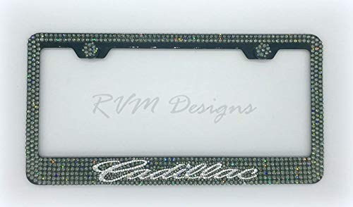 Cadillac Black Metal License Plate Frame made with Black Diamond Swarovski Crystals- Cadillac Car Jewelry ()