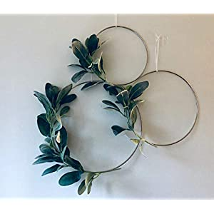 Designs by DH Metal Hoop Wreath Shabby Chic Lamb's Ear Succulent Green Simple Wedding Baby Nursery Rustic Farmhouse Scandinavian Home Decor 4