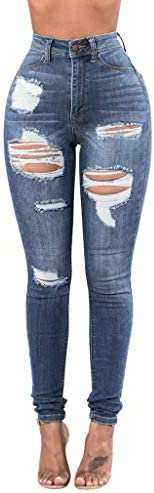 Women High Waisted Skinny Jeans Ripped Stretch Distressed Jeggings Destoryed Hole Butt-Lifting Comfy Denim Pan