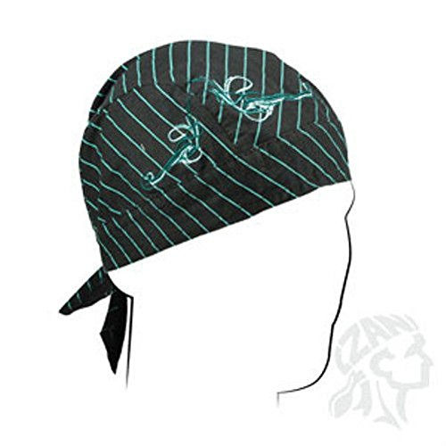 Embroidered Turquoise Black Pinstripe Doo Rag Headwrap Biker Designer Skull Cap by ZIZI SPORTS SUPPLY