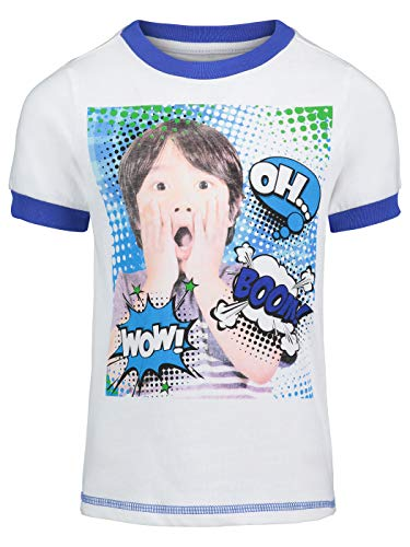 Ryans World Pocket Watch Boys Graphic Novelty Tee Shirt OH Boom Wow (White/Blue, 8)