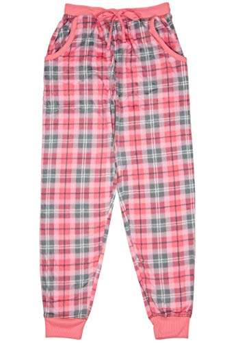 - North 15 Women's Super Cozy Minky Fleece Pajama Bottom with Waist & Bottom Rib-L1525-Des11-M Pink